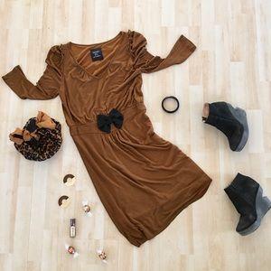 Zara dress w/ puff sleeves ruffled shoulders & bow